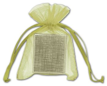 Apple Green Organdy Bags, 3 x 4