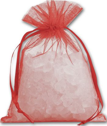 Red Organdy Bags, 4 x 5 1/2