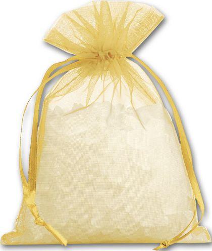 "Gold Organdy Bags, 4 x 5 1/2"""