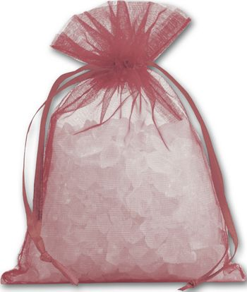 Burgundy Organdy Bags, 4 x 5 1/2
