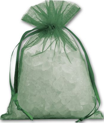 Green Organdy Bags, 4 x 5 1/2