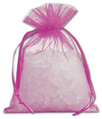 Fuchsia Organdy Bags, 4 x 5 1/2