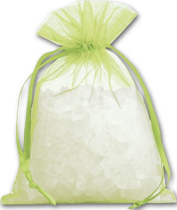 Lime Organdy Bags, 4 x 5 1/2