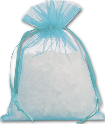 Teal Organdy Bags, 4 x 5 1/2