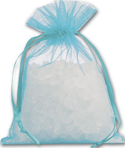 """Teal Organdy Bags, 4 x 5 1/2"""""""