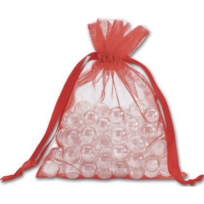 Red Organdy Bags, 5 x 6 1/2""