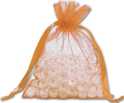 "Orange Organdy Bags, 5 x 6 1/2"""