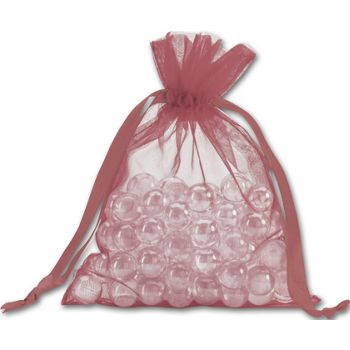 Burgundy Organdy Bags, 5 x 6 1/2