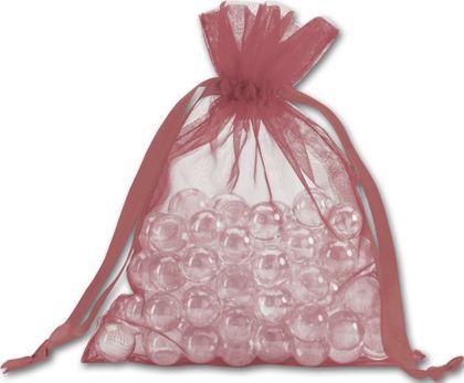 "Burgundy Organdy Bags, 5 x 6 1/2"""
