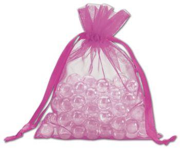 Fuchsia Organdy Bags, 5 x 6 1/2