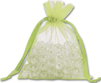 Lime Organdy Bags, 5 x 6 1/2