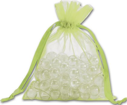 Lime Organdy Bags, 5 x 6 1/2""