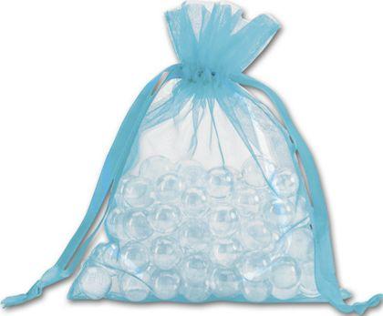 """Teal Organdy Bags, 5 x 6 1/2"""""""