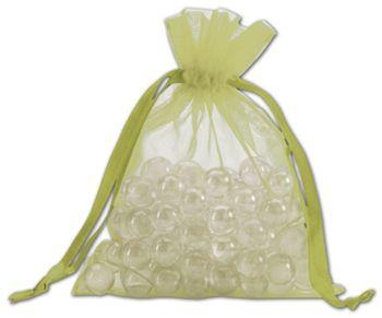 Apple Green Organdy Bags, 5 x 6 1/2