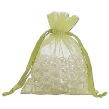 Apple Green Organdy Bags, 5 x 6 1/2