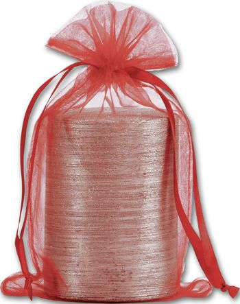 Red Organdy Bags, 5 1/2 x 9