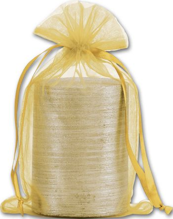 Gold Organdy Bags, 5 1/2 x 9
