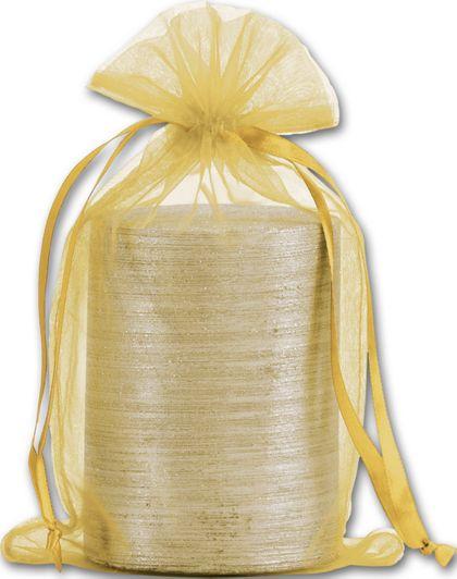 "Gold Organdy Bags, 5 1/2 x 9"""