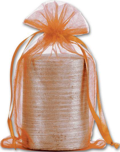 "Orange Organdy Bags, 5 1/2 x 9"""