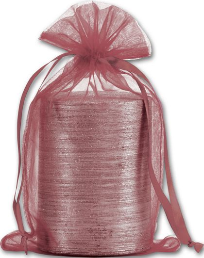 "Burgundy Organdy Bags, 5 1/2 x 9"""