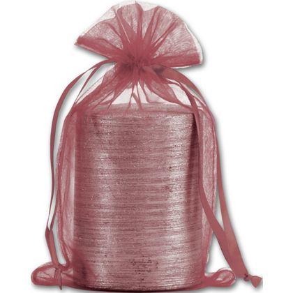 Burgundy Organdy Bags, 5 1/2 x 9