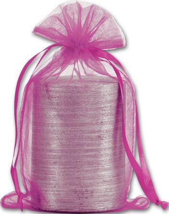 Fuchsia Organdy Bags, 5 1/2 x 9