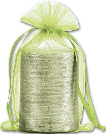 Lime Organdy Bags, 5 1/2 x 9""
