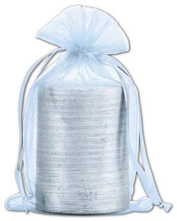 Light Blue Organdy Bags, 5 1/2 x 9