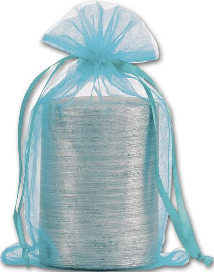 Teal Organdy Bags, 5 1/2 x 9""