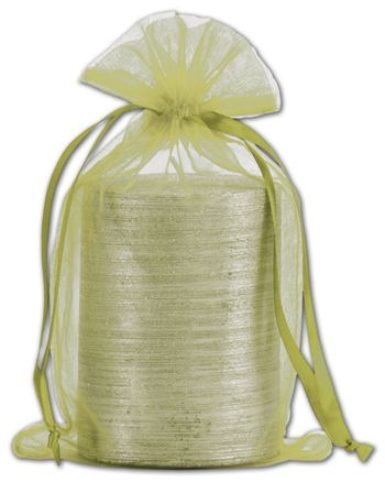 Apple Green Organdy Bags, 5 1/2 x 9