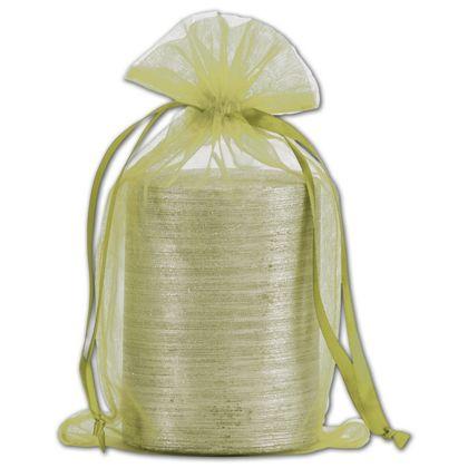"Apple Green Organdy Bags, 5 1/2 x 9"""