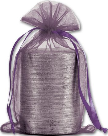Plum Organdy Bags, 5 1/2 x 9