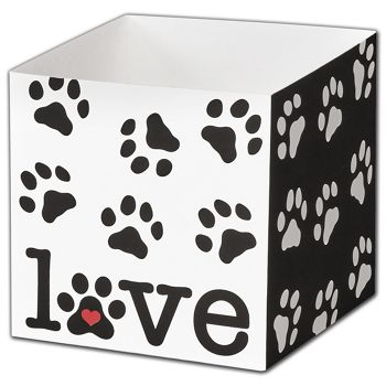 Puppy Love Party Favor Gift Boxes, 3 3/4 x 3 3/4 x 3 3/4