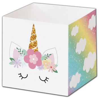 Pastel Unicorn Favor Gift Boxes, 3 3/4 x 3 3/4 x 3 3/4""