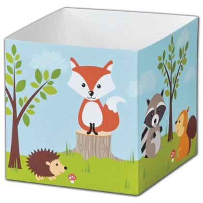 Woodland Animals Party Favor Gift Boxes, 3 3/4x3 3/4x3 3/4