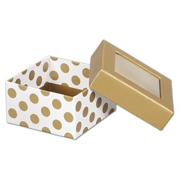 Metallic Gold Dots Rigid Gourmet Window Boxes, Small