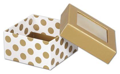 Metallic Gold Dots Rigid Gourmet Window Boxes, Small