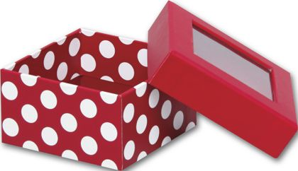 Red and White Dots Rigid Gourmet Window Boxes, Small