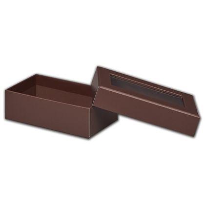 Chocolate Rigid Gourmet Window Boxes, Rectangle