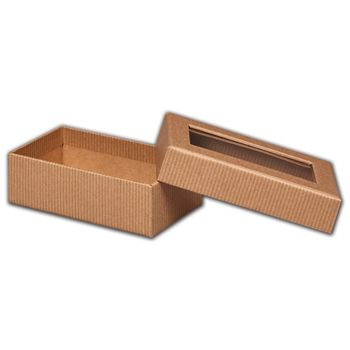 Kraft Stripes Rigid Gourmet Window Boxes, Rectangle