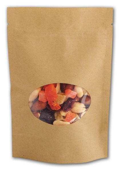 "Kraft Window Stand-Up Zipper Pouches, 4 x 6"" + 2"" BG"