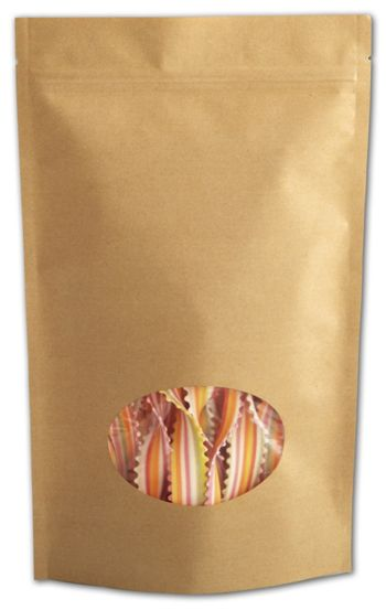 Kraft Window Stand-Up Zipper Pouches, 6 1/2 x 11