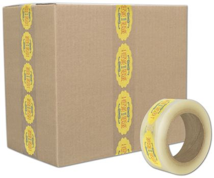 "Clear Custom Printed Tape, 3 Colors, 2"" x 110 Yds"