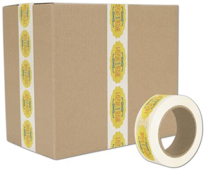 "White Custom Printed Tape, 3 Colors, 2"" x 110 Yds"