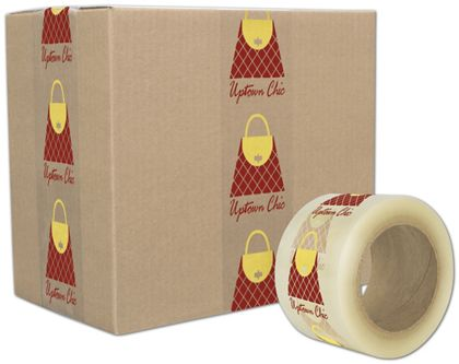 "Clear Custom Printed Tape, 2 Colors, 3"" x 110 Yds"