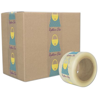 "Clear Custom Printed Tape, 3 Colors, 3"" x 110 Yds"