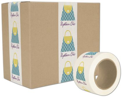 "White Custom Printed Tape, 3 Colors, 3"" x 110 Yds"