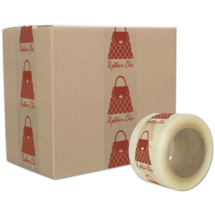 "Clear Custom Printed Tape, 1 Color, 3"" x 55 Yds"