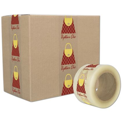 "Clear Custom Printed Tape, 2 Colors, 3"" x 55 Yds"