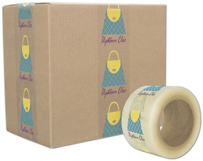 "Clear Custom Printed Tape, 3 Colors, 3"" x 55 Yds"
